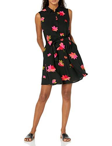 Amazon Essentials Sleeveless Woven Shirt Dress Hemd, Blumenmuster in Rosa und Schwarz, S