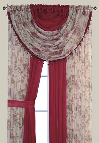 "Complete Window Sheer Voile Curtain Panel Set with 4 Attached Panels (55x84"" Each) and 2 attached Valances with Beads and 2 Tiebacks - Easy Installation - Multicolor Floral Rose and Solid Burgundy"