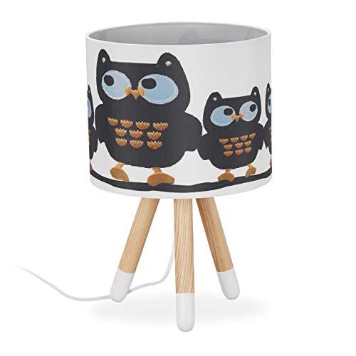 Relaxdays tafellamp kinderen, schattig uilmotief, E14, driepoot, stoffen lampenkap, hout, HxD: 39 x 25 cm, wit