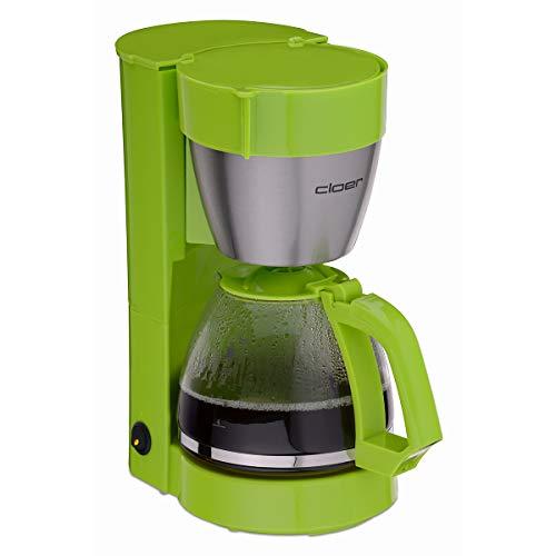 Cloer 5017-4 Filterkaffee-Automat mit Warmhaltefunktion, 800 W, Glaskanne für bis zu 10 Tassen, Filtergröße 1x4, Kunststoff, Edelstahl, grün, Türkis