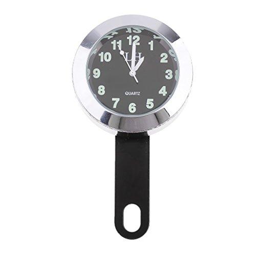 Sharplace Wasserdicht Lenker Uhr Mount Uhren Motorraduhr Mini Lenker Uhr Zifferblatt Uhr - Silber