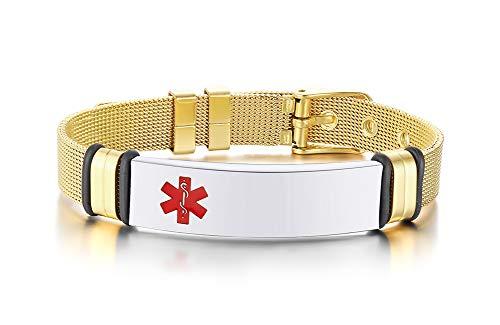 MEALGUET Custom Engraving-Stainless Steel Mesh Wristband Adjustable Medical Alert ID Bracelets for Men Women