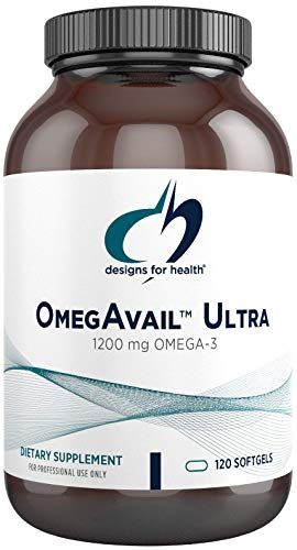Designs for Health OmegAvail Ultra TG Fish Oil 1200mg - 1000 IU Vitamin D3, Vitamins K1 + K2 - Triglyceride Form Omega 3 Fish Oil Supplement with DHA / EPA - No Fishy Aftertaste (120 Softgels)