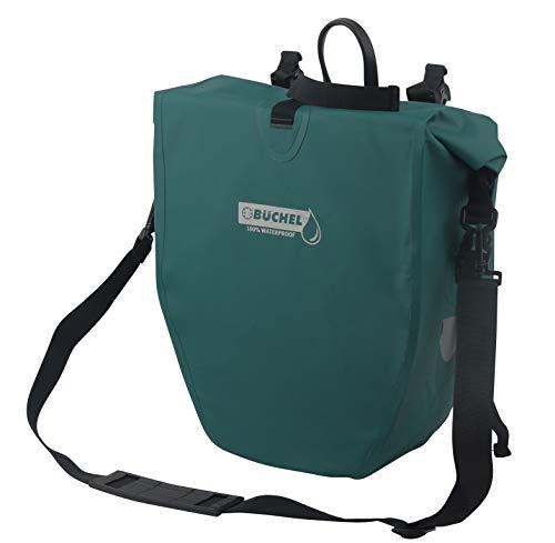 Büchel Unisex– Erwachsene Fahrradtasche für Gepäckträger, 100 Prozent wasserdicht, Storm, mit Schultergurt, 81518003, strom