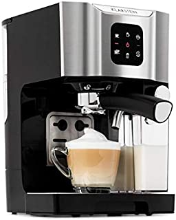 Klarstein BellaVita Coffee Machine • 3-in-1 Function for Espresso, Cappuccino and Latte Macchiato • 0.4 L Milk Frother • 1450 Watts • 20 Bar Pressure • 1.4L Water Tank • Self-Cleaning System • Grey