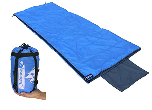 Outdoorsman Lab Compact Lightweight Camping Sleeping Bag Men's Women's Kid's for Backpacking, Hiking, Travel- Warm Weather Ultralight Packable Bag with Compression Sack, Pillow case, Blue