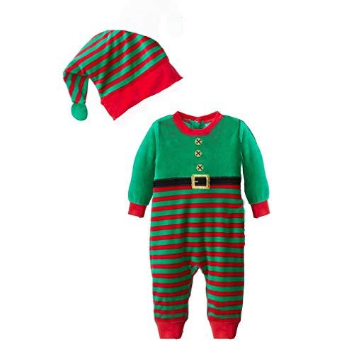 JEELINBORE Bambino Ragazzi Ragazze 2PCS Natale Pagliaccetto Neonato Costume Da Elfo Con Cappello Xmas Pigiama - A Strisce # Verde, 90 (Per Altezza Entro 73Cm)