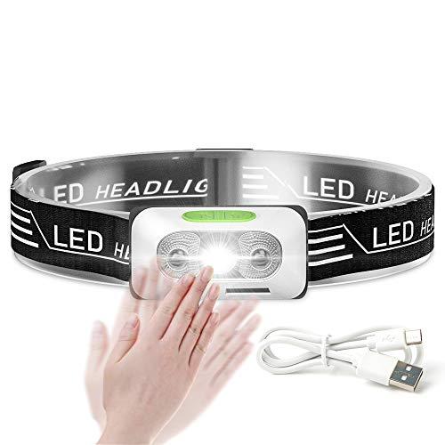 Faro para correr, USB recargable LED faro para adultos/niños impermeable con sensor de movimiento impermeable faro para camping, senderismo, pasear perro y leer