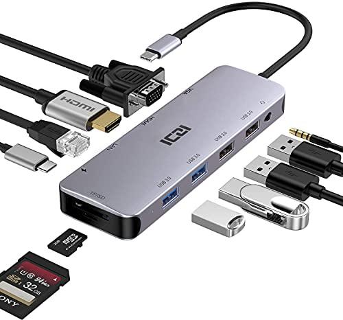 ICZI Hub USB C Thunderbolt 3 12 en 1 Adaptador USB Tipo C a 4 USB HDMI 4K Dex VGA RJ45 Ethernet Lector de Tarjeta SD TF USB-C Power Delivery Audio Jack Docking Station para Macbook Pro etc (12 Port)
