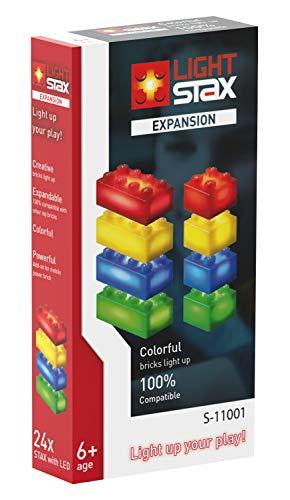 Light STAX Bausteine Expansion 11001, kompatibel mit dem STAX System und allen bekannten Bausteinmarken, 24 Zusatzsteine (rot, gelb, blau und grün)