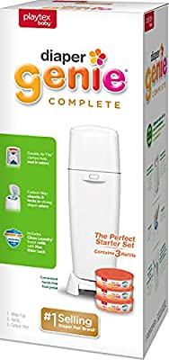 Playtex Diaper Genie Complete Pail with Built in Odor Controlling Antimicrobial, Includes Pail and 3 Clean Laundry Scent Refills, White Pail from AmazonUs/PLWY9