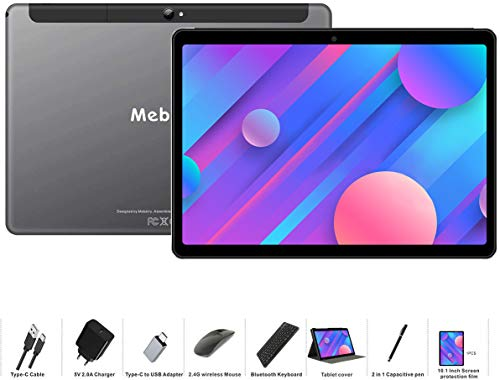 Tablet 10 Inch Android 9.0 Pie, MEBERRY Tablets 4GB RAM + 64GB ROM with Quad-Core Processor- Google GSM Certified- Dual SIM| 8000mAh| WIFI| Bluetooth| GPS| 5.0+8.0 MP Camera, Metal Body GRAY