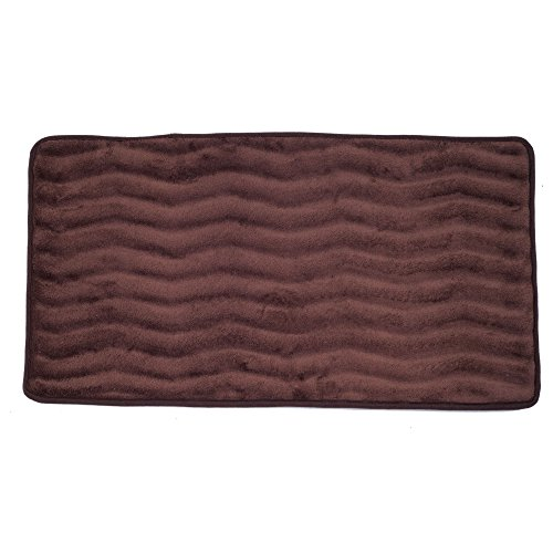 Bedford Home Microfiber Memory Foam Bathmat – Oversized Padded Nonslip Accent Rug for Bathroom, Kitchen, Laundry Room, Wave Pattern (Chocolate)