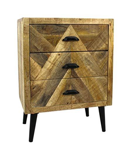 DARO DEKO Mango Holz Möbel Natur Nacht-Schrank mit 3 Schubladen 45 x 61cm