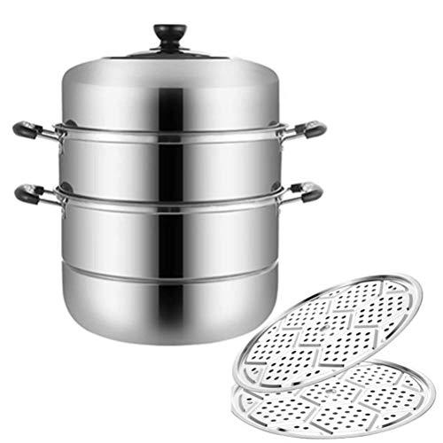 yunyu Dampfgarer 30cm 3 Tier Edelstahl Gemüse und Fleisch Huhn/Lamm/Rindfleisch Dampfgarer Dampfgarer Basis belüfteter Deckel