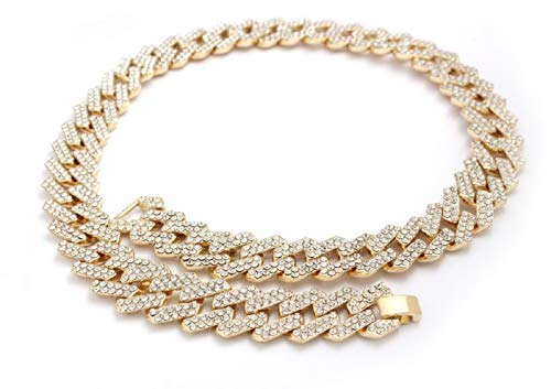 Best Collection- 14k Gold Plated Iced Out chain and bracelet 13mm and 16mm Cuban link, Mariner and Figaro Gold