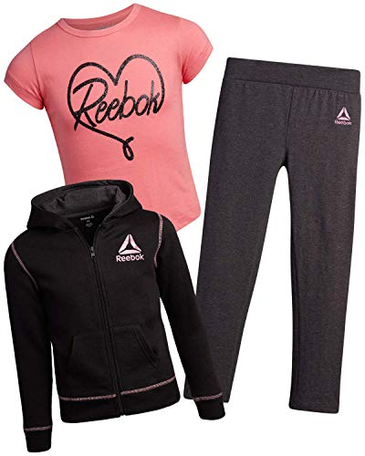 Reebok Girls' Athleisure Pant Set with Fleece Hoodie, T-Shirt, and Leggings (3 Piece) (Black/Coral/Charcoal, 6X)