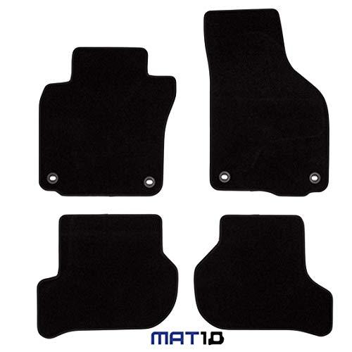 MAT10 – Silver-Line: VW Golf V Kompaktwagen und Variant Baujahr 2003-02 - 2009-07 Auto Fußmatten Autoteppich Velours Premium Qualität 4-teilig Schwarz Garantierte Passform