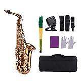 Instrumento Viento Madera Tipo Llave E Piso Alto Saxofón Material De Latón Instrumento De Viento con Guantes De Maleta...