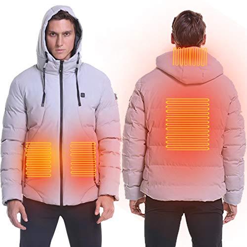 Yeah-hhi Beheizte Jacke für Herren, USB, Winter, winddicht, waschbar, verstellbare Temperatur, warm, für Camping, Wandern, Jagd, Angeln, Grau, M