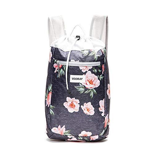 Vooray Stride Cinch Backpack, Drawstring Backpack, Gym Bag for Men and Women (Rose Navy)
