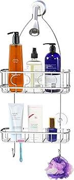 Simple Houseware Bathroom Hanging Shower Head Caddy Organizer Chrome  22 x 10.2 x 4.2 inches