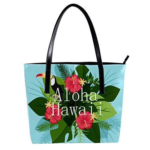 LORVIES Tucan mit Hawaii Aloha Umhängetasche aus PU-Leder und Handtasche für Damen
