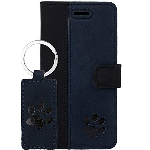 Schwarz Pfote - Duo Premium Vintage Ledertasche Schutzhülle TV Wallet Hülle aus Echtesleder Nubukleder Farbe Schwarz/Blau für Samsung Galaxy S10