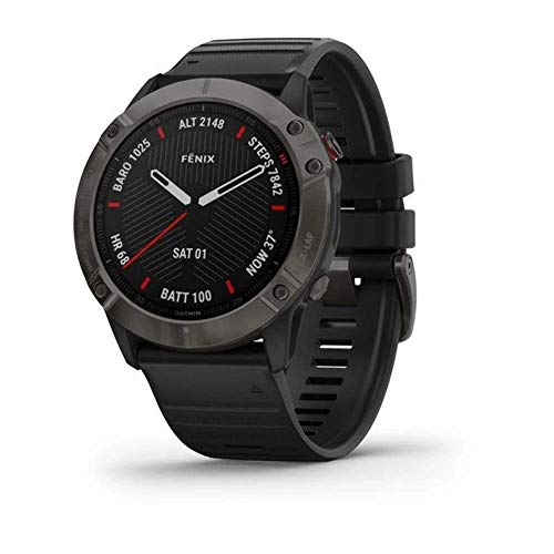 Garmin Fēnix 6X Sapphire Carbon Gray DLC with Black Band