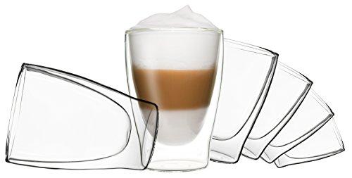 DUOS 6X 310ml doppelwandige Gläser, Latte Macchiato Thermogläser - Set mit Schwebe-Effekt, auch für Tee, Eistee, Säfte, Wasser, Cola, Cocktails geeignet, by Feelino …
