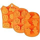 3 Piezas Molde de Silicona para Halloween de Moldes de Silicona para Hornear de Halloween Calabaza...