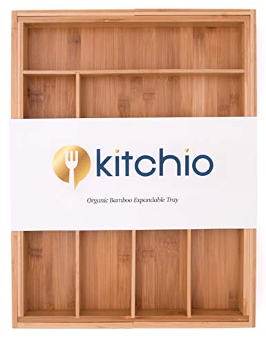Bamboo Expandable Drawer Organizer by Kitchio.Perfect...