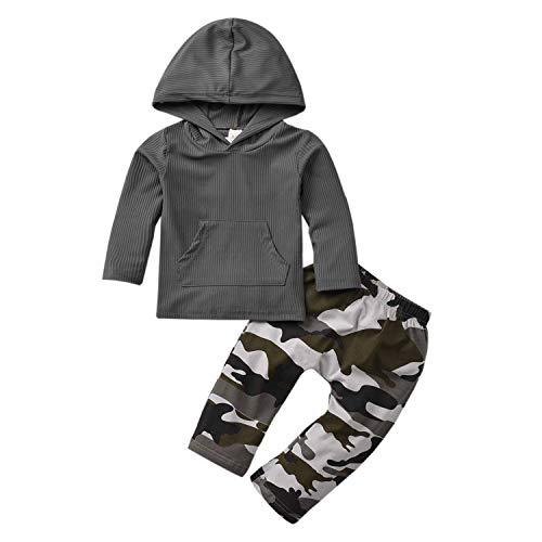 TUEMOS - Conjunto de ropa de bebé recién nacido con capucha de manga larga con capucha, pantalones de camuflaje, 2 piezas