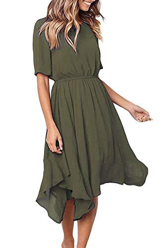 Alaster Queen Women'sCasualShortSleeveEmpireWaistSummerChiffonMidiDresseswithIrregularHem Solid Green Dress