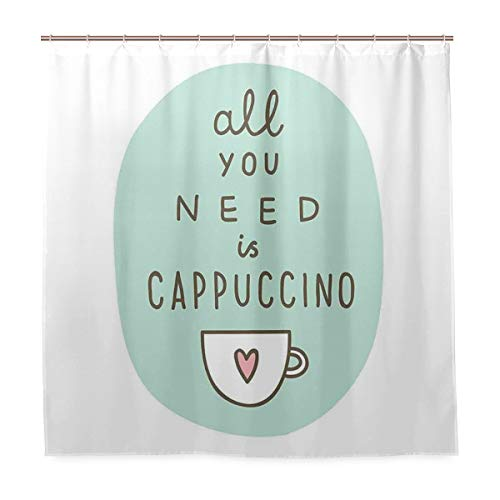 GLONLY Duschvorhang,Alles,was Sie brauchen Cappuccino Zitat mit Tasse Kaffee & Herz,Badvorhang Badezimmer Hochwertig mit Haken Set Wasser Resistent 180 x 180 cm