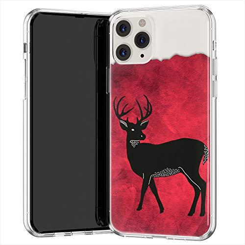 Lex Altern TPU Funda para Apple iPhone 12 Pro SE 11 XS MAX XR 8 7 Plus 6 + Negra Deer Cubierta Deer Symbol Delgado Carcasa Forest Animal Transparente Roja Acuarela Man Ligera uk0695