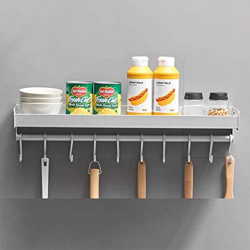 Kruidenrek voor aan de muur, multifunctioneel, zonder gaten, met lijm voor gelijkmatige hechting van de muren, voor keuken en badkamer, 60 cm (met stiften + 10 haken).