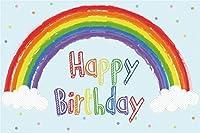 Amxxy 5x3ftビニールカラフルお誕生日おめでとう写真背景水彩レインボーブリッジ白い雲水色写真背景ベビーシャワー新生児ポートレート写真装飾スタジオ小道具