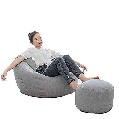 Puf de lino sin relleno clásico gigante extra grande suave sofá cama cubierta almacenamiento Lazy Lounger para organizar juguetes de peluche para niños (gris, XXL)