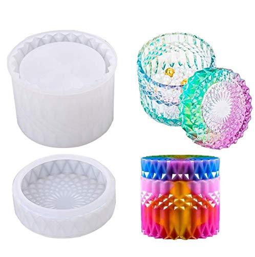 Moldes de silicona para fundición de resina de cristal con tapas caja de almacenamiento de baratijas de silicona Molde redondo de resina epoxi para hacer moldes herramientas de bricolaje