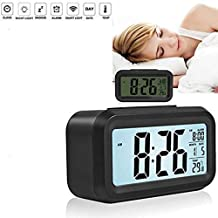 UNIK BRAND™ Digital Smart Backlight Battery Operated Alarm Table Clock with Automatic Sensor, Date & Temperature (multi color)
