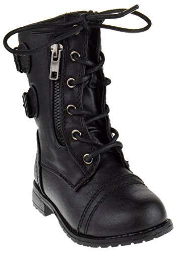 Forever Link Mango-61KA Baby Girls Combat Lace Up Boots Black 7 Toddler
