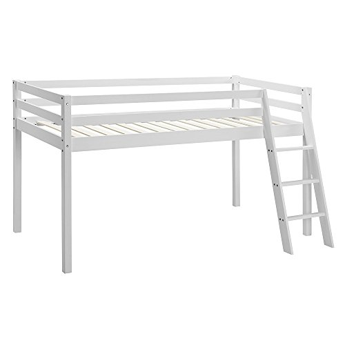 Home Detail Children's Wooden Mid-Sleeper Bunk Bed Kids Cabin Bed Frame with Ladder (White)