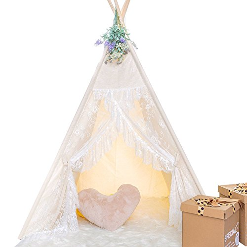 HAN-MM Floral Classic Ivory Kids Teepee Kids Play Tent with Ferry Light and Feathers Childrens Play...