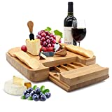 Bamboo Cheese Board Set 13' x 13' with Integrated Drawer and 4 Specialist Stainless Steel Knife, Perfect Christmas Gifts