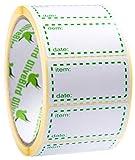 500 x Etichette Congelation su Rotolo, Dimensioni 50 x 25 mm, Bianco e Verde Etichette di Data uso per i Contenitori Riutilizzabili