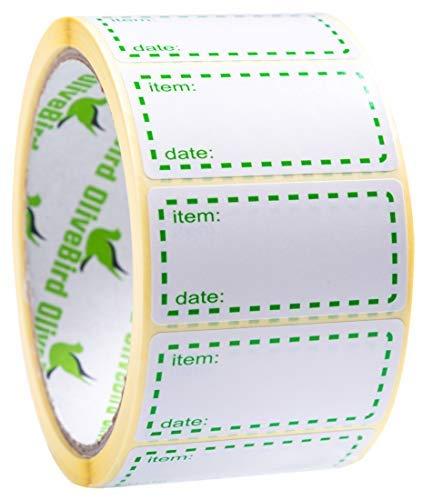 500 x Gefrieretiketten auf Rolle, Selbstklebend Haushaltsetiketten, Größe 50x25mm Datum Etiketten - Grün