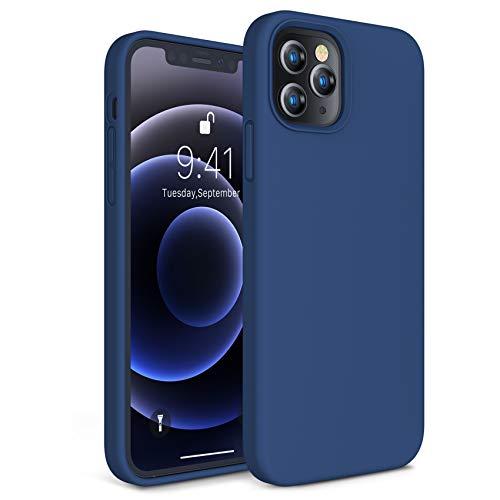 CANSHN Liquid Silikon Hülle Kompatibel mit 6.7'' (12 Pro Max 2020), [Seidig Glatt Touch] Weiche Matt Gel Gummi rutschfest Stoßfest Vollkörperschutz Hülle Handyhülle Schutzhülle - Nave Blau