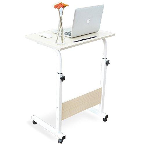 DlandHome 60 x 40 cm Tavolino Computer con Tavolino Regolabile in Altezza a Rulli con 4 Rotelle Bloccabili per Ufficio Camera da Letto,con Slot per Tablet, Acero