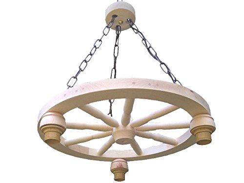 Lampe mit einem Wagenrad, Hängeleuchte aus Holz 60W, Naturholz